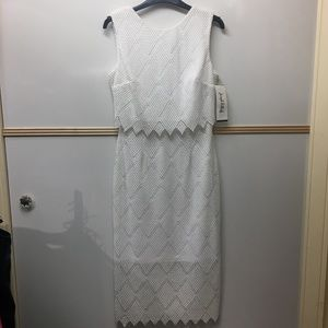 Joseph Ribkoff Wht Lined Crochet Sleeveless Dress
